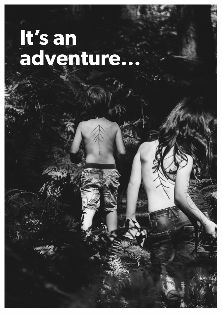 Illustrative: Boy and a girl going on adventure