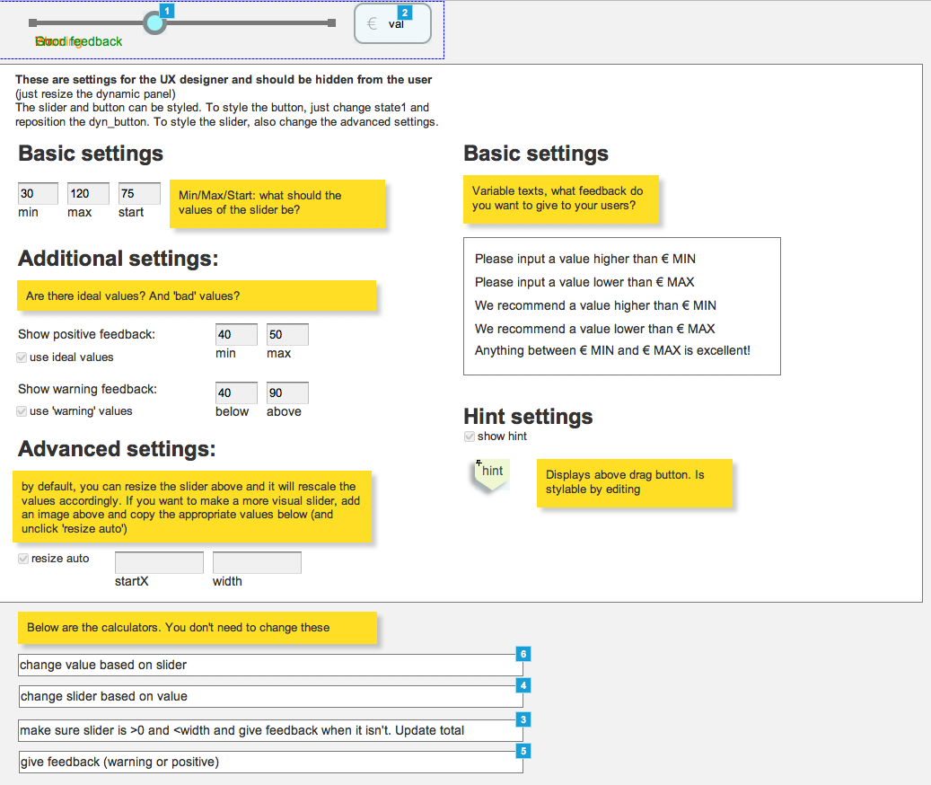 Settings page in Axure